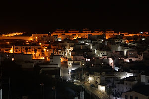 Casa Colina Blanca area at night. Viewed from old town Vejer.