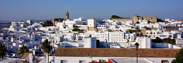 A view of Vejer old town skyline from Calle Santiago near Casa Colina Blanca (a holiday house you can rent in Vejer).