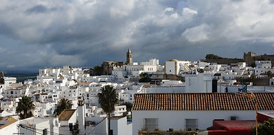 A view of Vejer moody skyline from Calle Santiago near Casa Colina Blanca (a holiday house you can rent in Vejer).