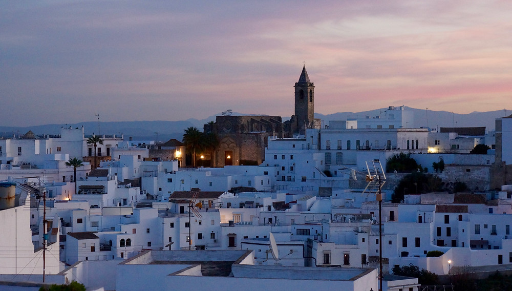 Dusk view of Vejer old town from Casa Colina Blanca