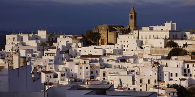 Early evening Vejer old town view from Casa Colina Blanca.