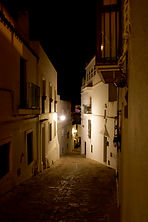 Looking down Calle José Castrillón, Vejer at night.