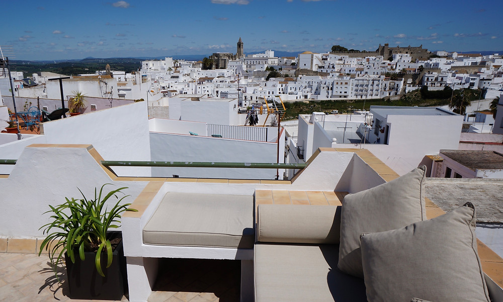 Casa Colina Blanca terrace. Re-designed seating area with raised, tiled corners for drinks etc.