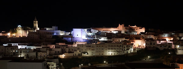 Vejer old town night skyline frm Casa Colina Blanca.