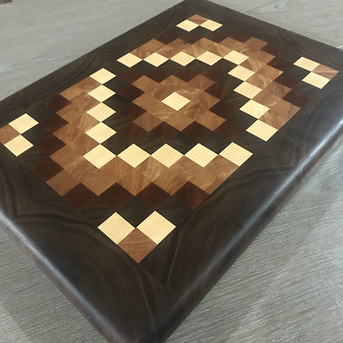 Large Endgrain Quilt Pattern Board with Walnut Boarder