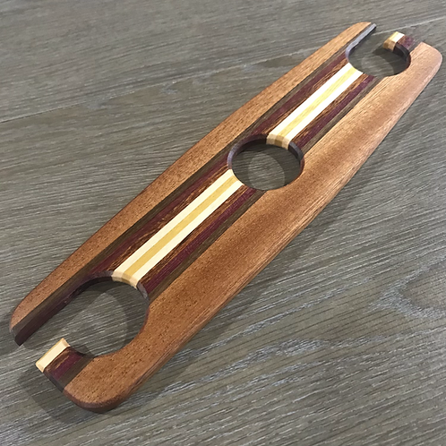 Sapele Wine Caddie with Off-Center Stripe
