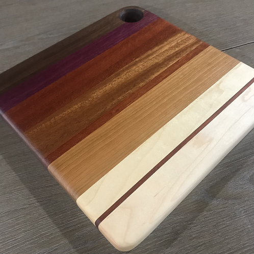 Medium Square Abstract Gradient Cuttingboard with Bloodwood Highlights