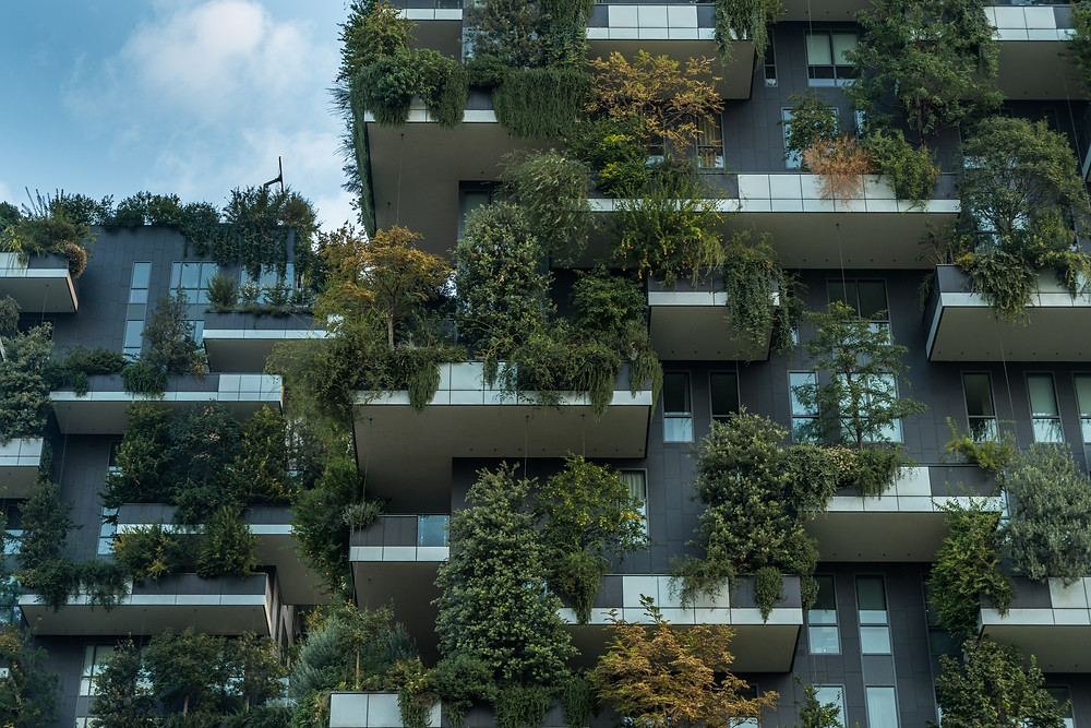 This is how I imagine that apartments will look in the future, much more environmentally and green friendly.