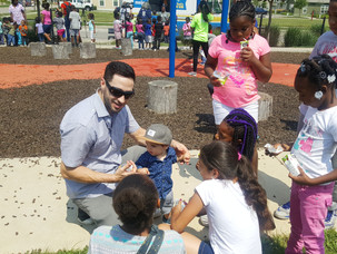 Ryan Braun celebrates SHARP Literacy students at Summer Learning Gain Initiative Rally