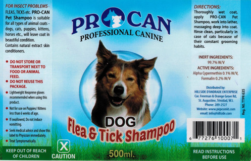 Procan Professional Canine Dog Flea And Tick Shampoo 500ml