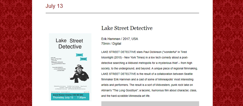 Lake Street Detective, Erik Hammen, Grand Illusion Cinema, poet detective, Paul Dickinson