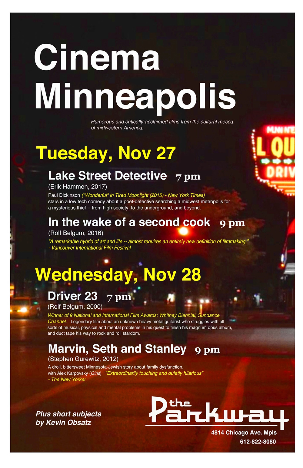 Cinema Minneapolis Nov 27-28, 2018