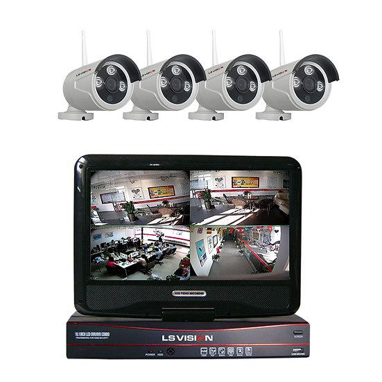 Kit NVR 4 canales Wifi, 4 cámaras 960p y pantalla LCD 10 pulgadas