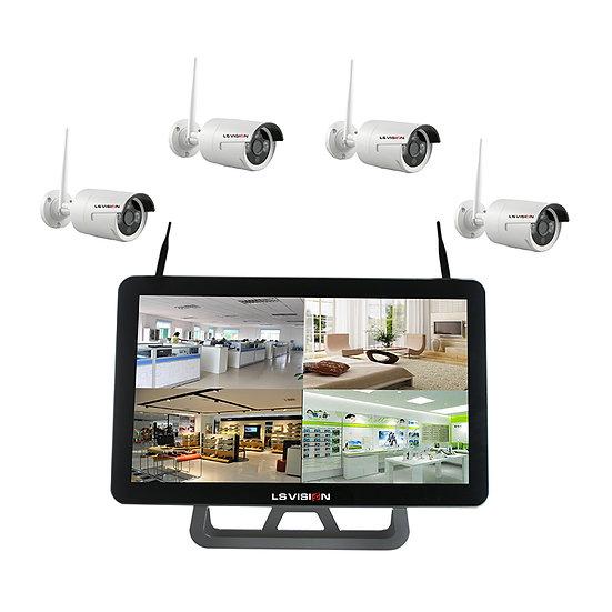 Kit NVR 4 canales Wifi integrado con pantalla, 4 cámaras 720p