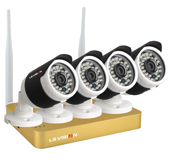 Kit NVR mini 4 canales Wifi, 4 cámaras 960p