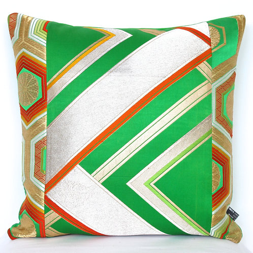 Metallic Green Geometric Zigzag Obi Silk Cushion