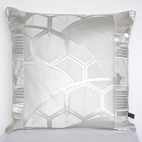 Silver Geometric Obi Silk Cushion