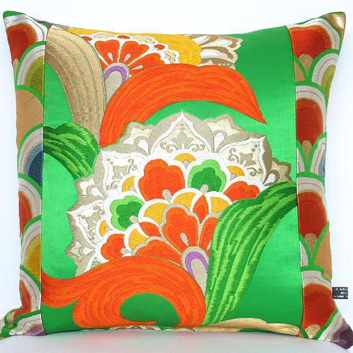 Oriental Emerald Green Obi Silk Cushion