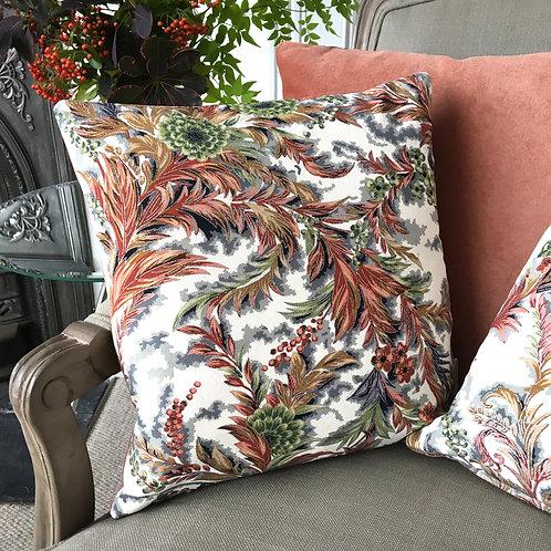 Chinoiserie floral kimono silk & pink velvet cushions