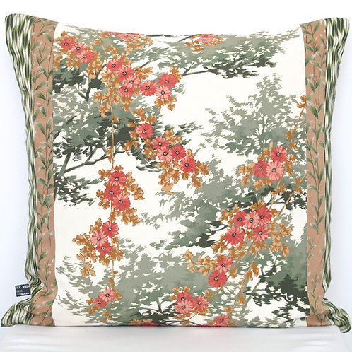Tree Shadow & Pink Flower Kimono Silk Cushion