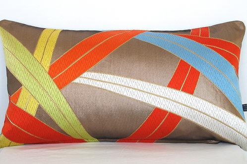 Stylised Grasses on Copper Obi Silk Cushion