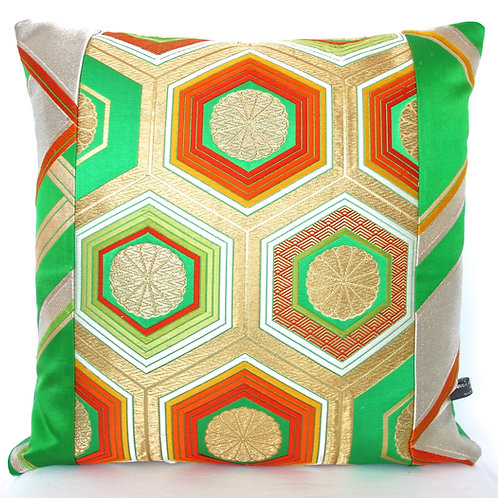 Metallic Green Honeycomb Hexagon Obi Silk Cushion
