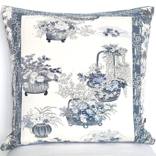 Chinoiserie Wedgwood Blue Floral Basket Kimono Silk Cushion