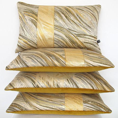 Bolster cushion in metallic stylised bark obi silk & mustard velvet