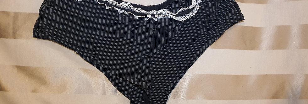 Worn Sexy Black & Cream Pinstripe Thong Panties