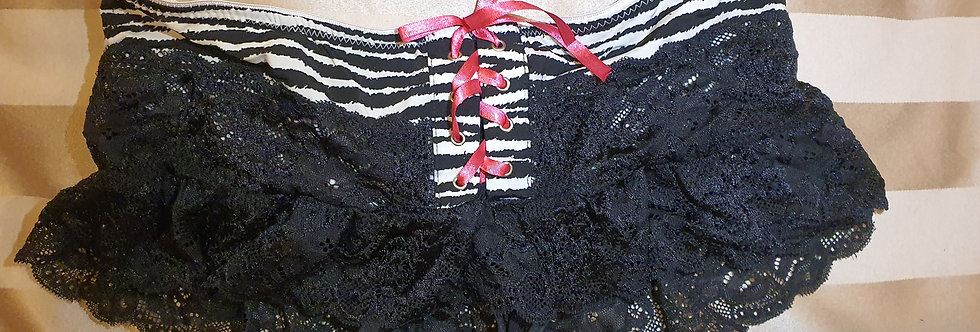 Worn Black lace Frilled Zebra print Skirt style Panties with black thong inner