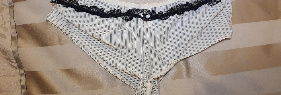 Worn Cream & Black Thong Panties