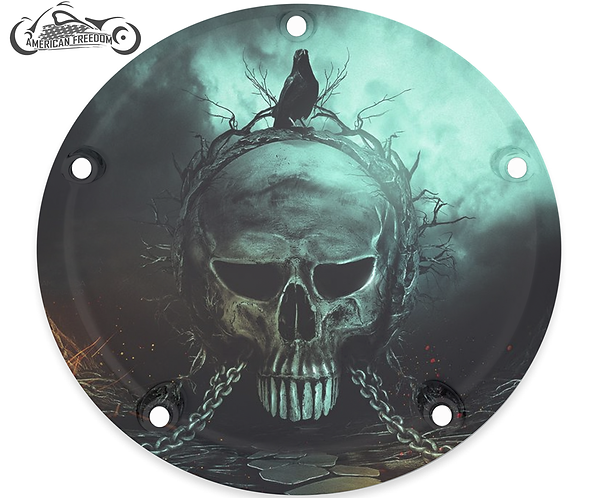 CROW ON CHAINED SKULL