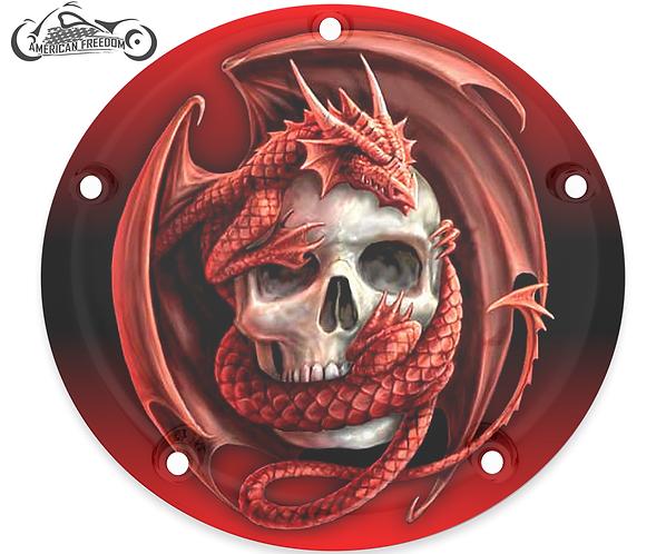 RED DRAGON ON SKULL