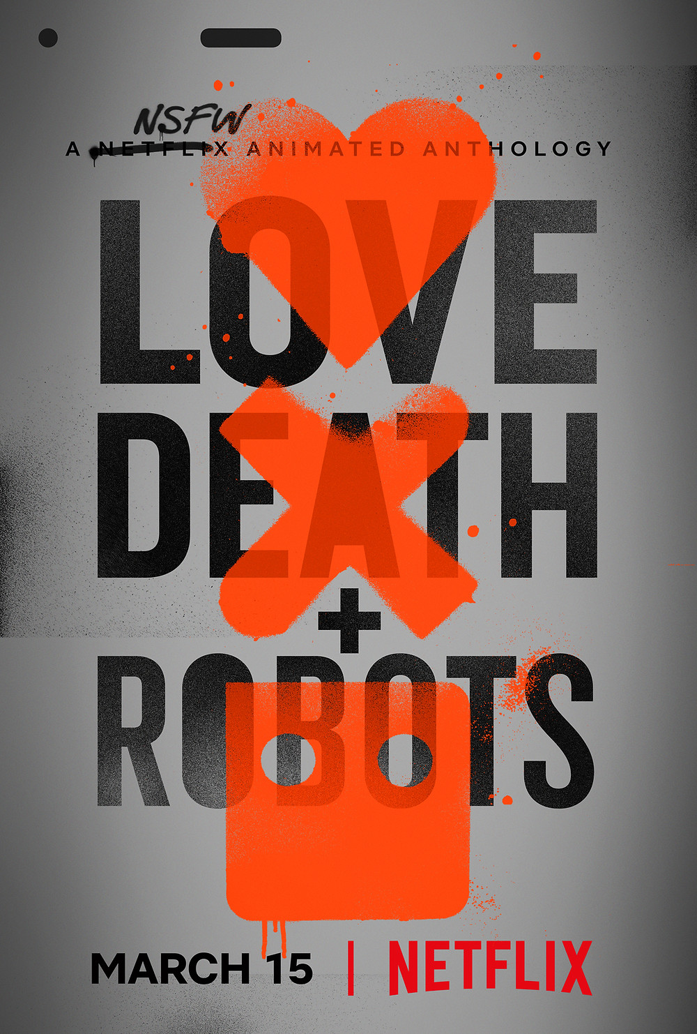 A NSFW animated anthology. In capital words in three lines it's written, LOVE with a heart on it, DEATH with a cross on it, + ROBOTS with a robot face on it.