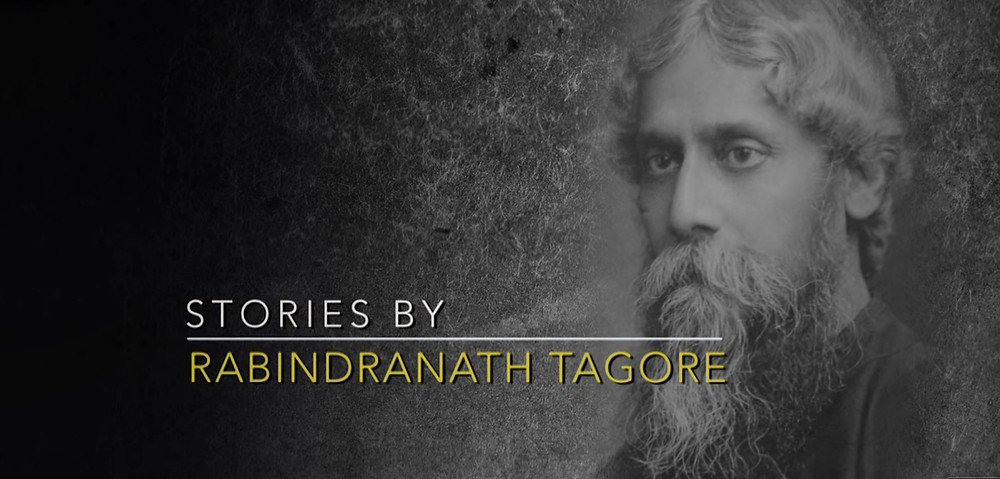 On a black and grey gradient on the right side there is a picture blending with the background of Rabindranath Tagore. On the right side in white it's written Stories By and in yellow it's written Rabindranath Tagore.