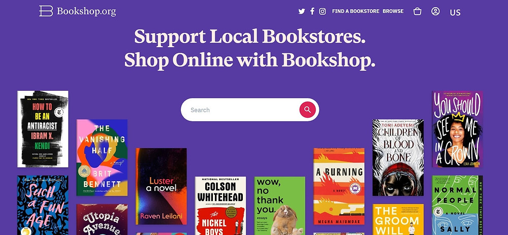 """screenshot of bookshop.org. Image ID: on purple background with white color fonts the text """"Support Local Bookstores. Shop Online With Bookshop"""" is written. Underneath there's a search bar."""