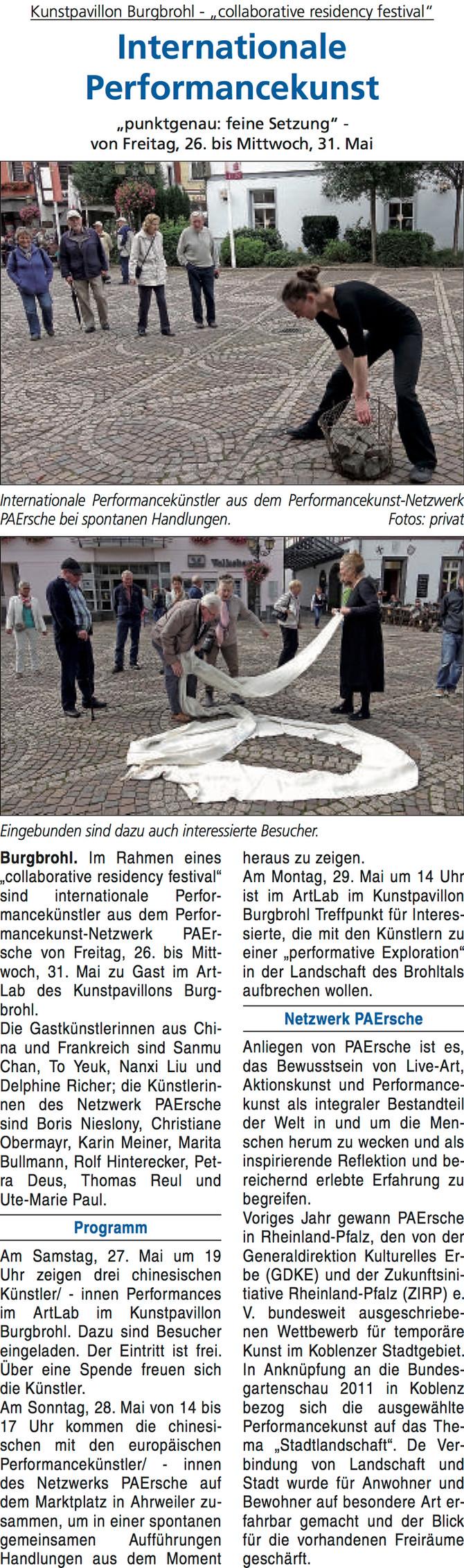 Article du journal allemand « Blick aktuell Brohltal »