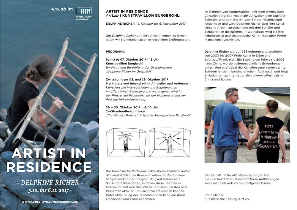 Flyer artist in residence kunstpavillon burgbrohl delphine richer