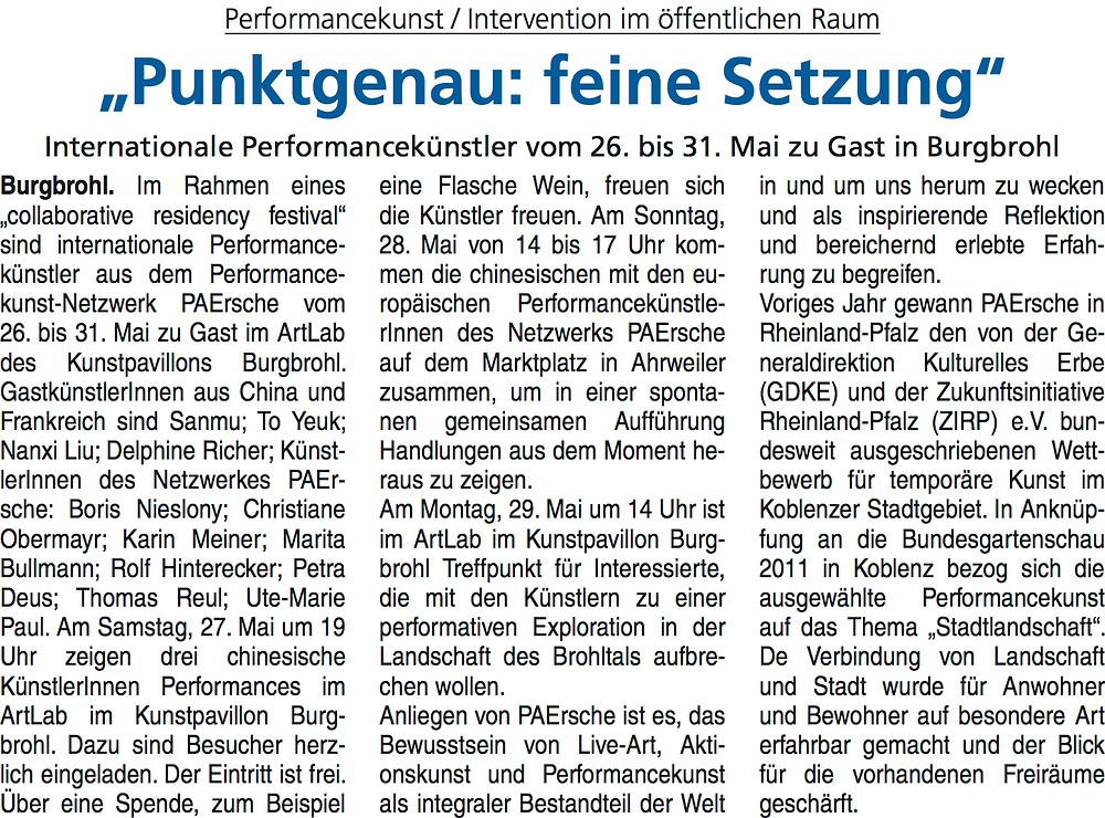 """Article au sujet du collaborative residency festival intitulé """"Punktgenau : Feine Setzung"""""""
