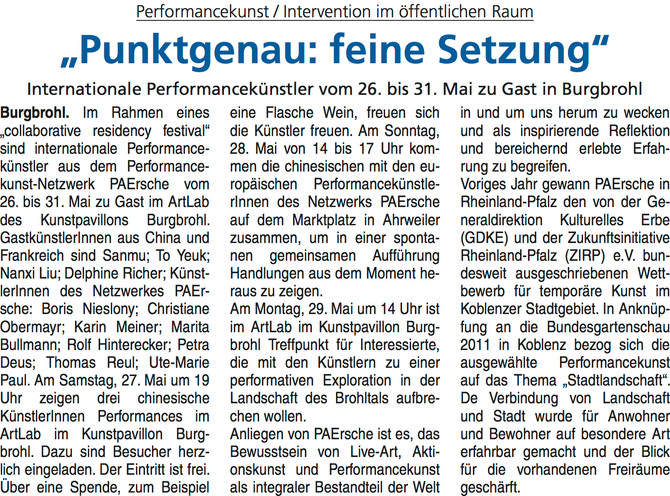 Article du journal allemand « Blick aktuell Burgbrohl »