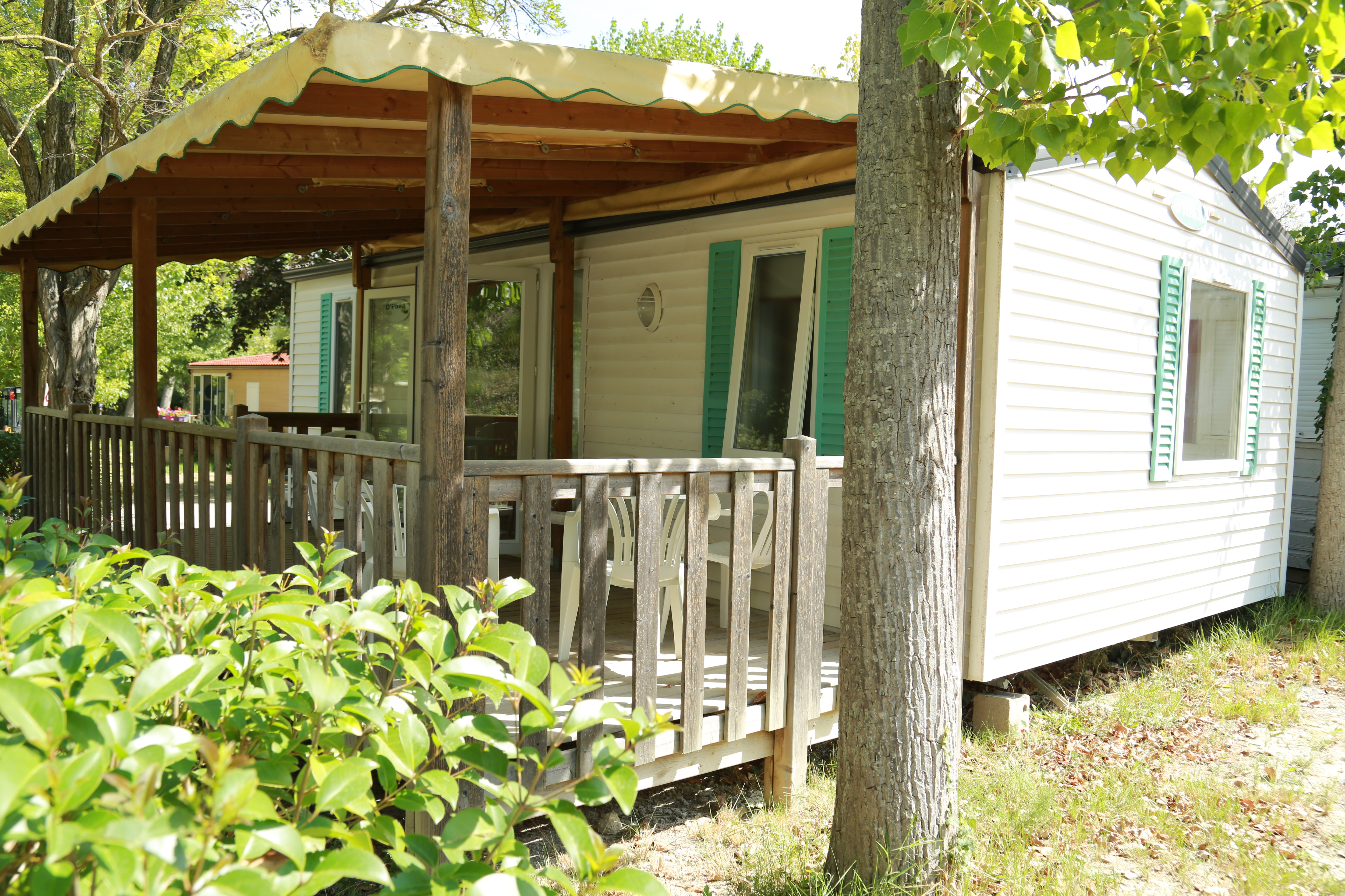Mobilhome récent, Camping Le Garel.