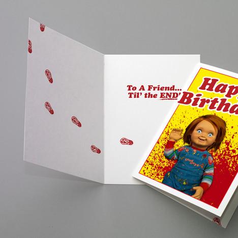 Child's Play Themed Birthday Greeting Card