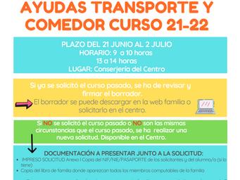 AYUDAS TRANSPORTE Y COMEDOR PRÓXIMO CURSO 2021-2022