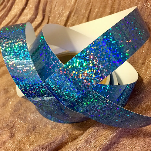 Sky Blue Sparkling Sequins Holographic Taped Polypro Hoop