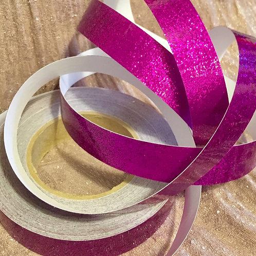 Fuchsia Retro Glitter Taped Polypro Hoop