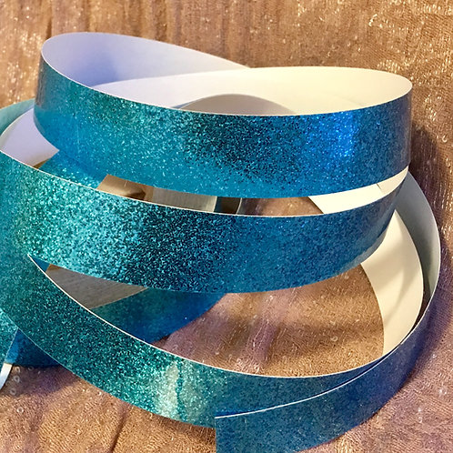Azure Blue Retro Glitter Taped Polypro Hoop
