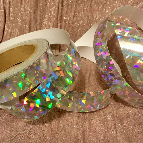 Silver Crystals Holographic Taped Polypro Hoop