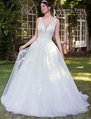 Sophia Tolli tulle ballgownwith lace