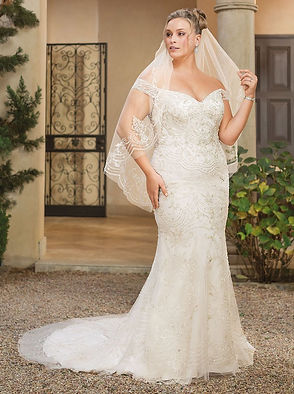 Casablanca plus size fit and flare gown with lace