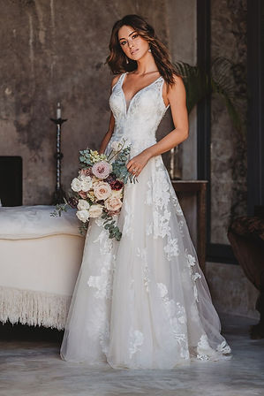 Allure A-line gown with lace appliques